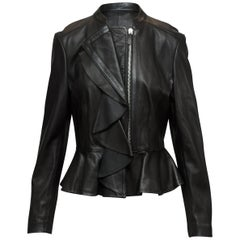 Altuzarra Black Fitted Leather Ruffle-Trimmed Jacket