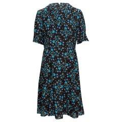 Altuzarra Black & Multicolor Silk Floral Print Dress