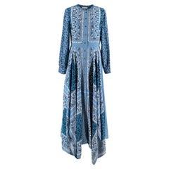 Altuzarra Blue Multi-Print Shirt Midi Dress XS 36