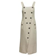 Altuzarra Cream & Black Sleeveless Pinstriped Dress