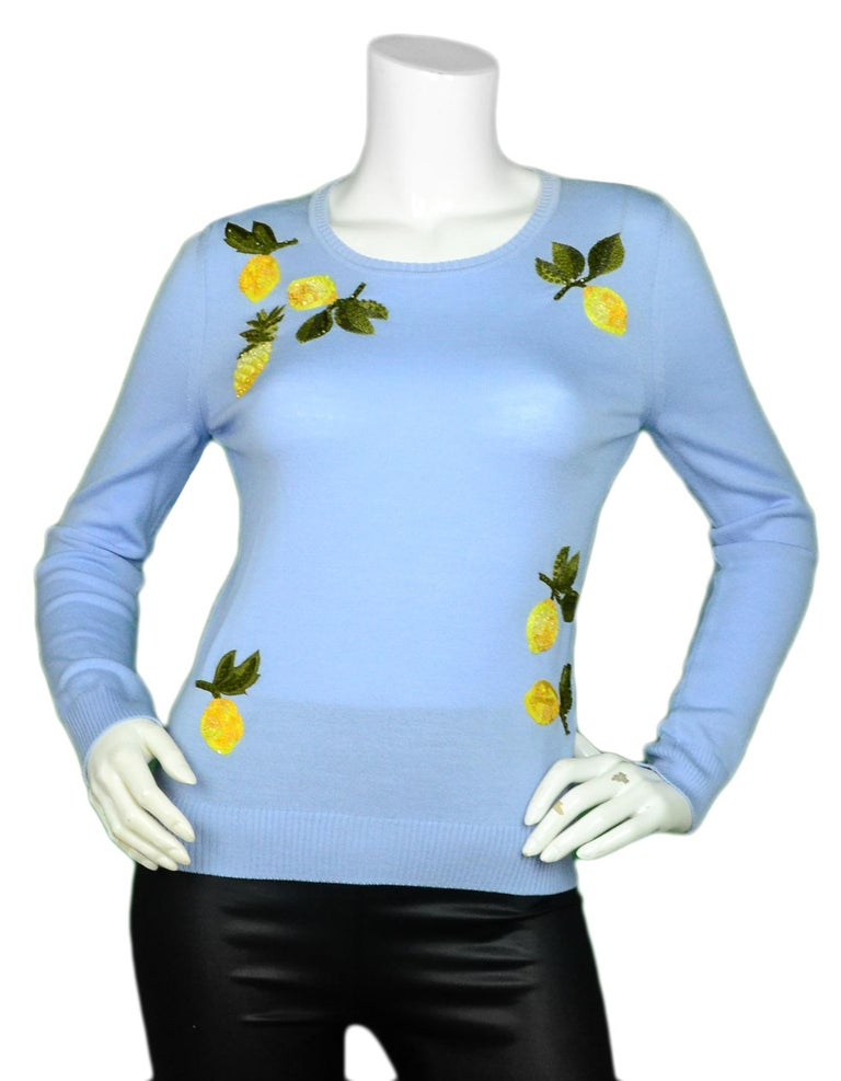 Altuzarra Lemon Embroidered Lightweight Sweater sz XS  Made In: Italy Color: Blue  Materials: 100% Merino Wool Embroidery Materials: Glass, Plastic, Viscose, Polyester Lining: 100% Merino Wool Opening/Closure: Slip-on Overall Condition: Excellent