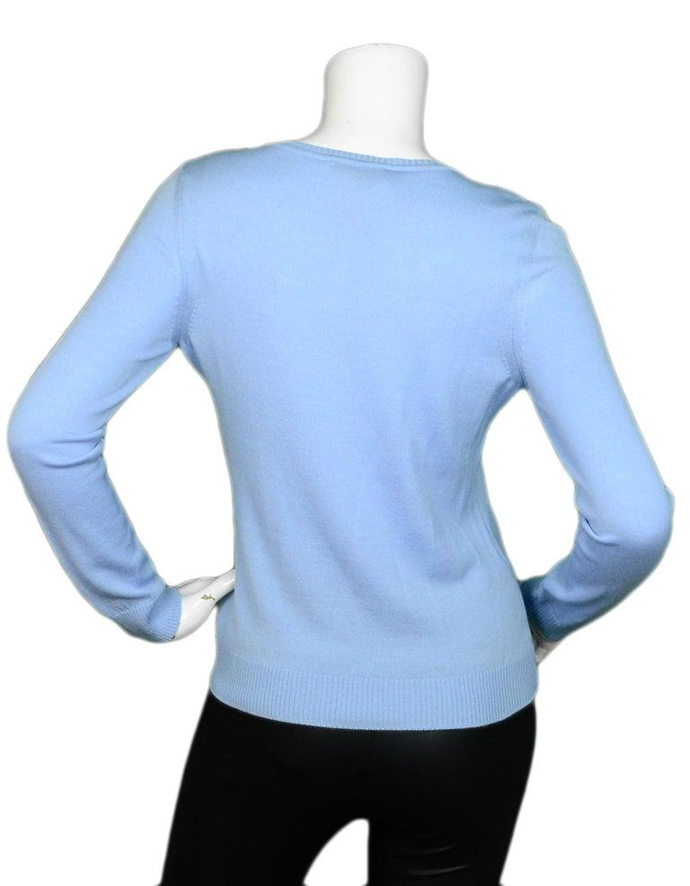 Blue Altuzarra Lemon Embroidered Lightweight Sweater sz XS For Sale