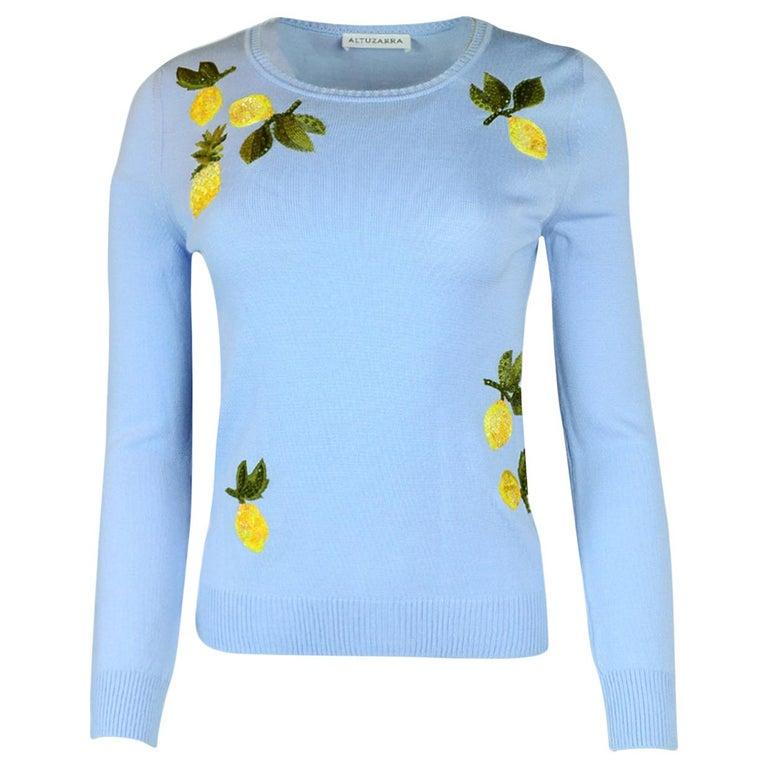 Altuzarra Lemon Embroidered Lightweight Sweater sz XS For Sale