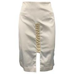 ALTUZARRA Size 10 White Satin Acetate Blend Pencil Skirt