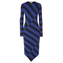 Altuzarra Whistler Asymmetric Striped Ribbed Knit Dress