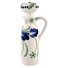 Aluminia 'Denmark' Lidded Vinegar Jug in Hand Painted Porcelain