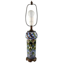 Aluminia Faience Table Lamp, Hand-Painted with Floral Motifs