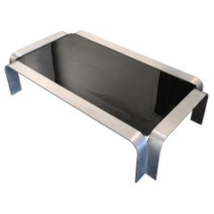 Aluminum and Glass Late 20th Century Sculptural Coffee Table