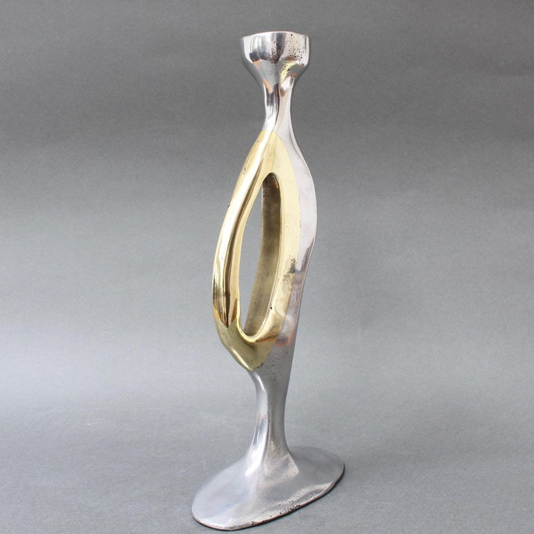 Late 20th Century Aluminium and Brass Brutalist Style Candleholder by Leopold, s.c, 'circa 1970s' For Sale