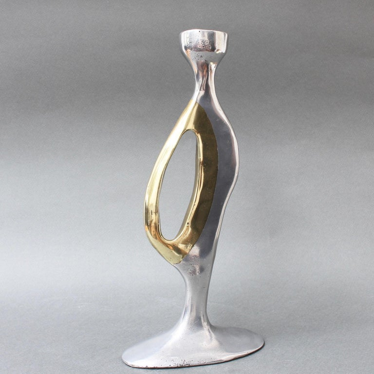 Aluminium and Brass Brutalist Style Candleholder by Leopold, s.c, 'circa 1970s' For Sale 1