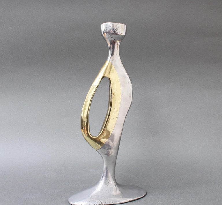 Aluminium and Brass Brutalist Style Candleholder by Leopold, s.c, 'circa 1970s' For Sale 2