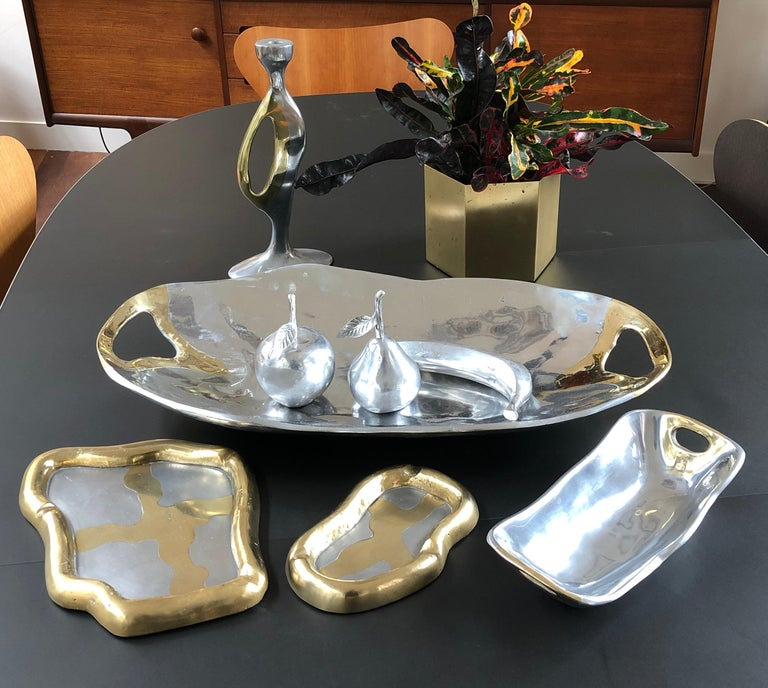 Aluminium and Brass Brutalist Style Tray by David Marshall (1970s) - Large For Sale 1