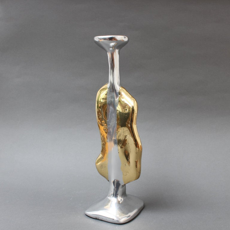 Brutalist Aluminium and Brass Candle Stand in the Style of David Marshall, circa 1970s For Sale