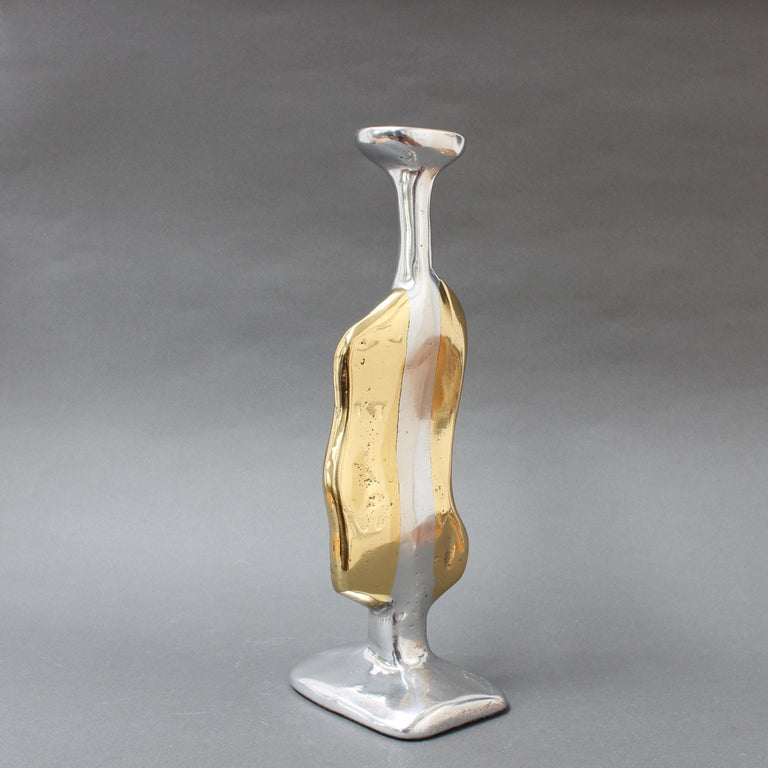 Aluminium and Brass Candle Stand in the Style of David Marshall, circa 1970s In Good Condition For Sale In London, GB