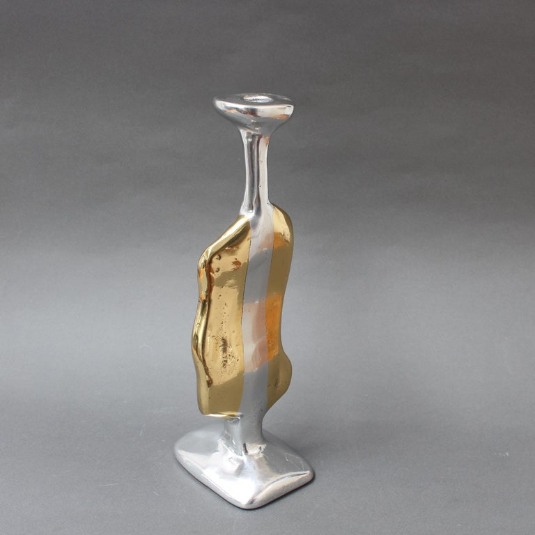 Late 20th Century Aluminium and Brass Candle Stand in the Style of David Marshall, circa 1970s For Sale