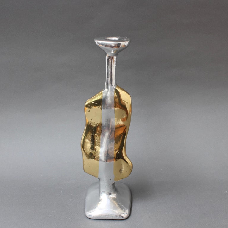 Aluminum Aluminium and Brass Candle Stand in the Style of David Marshall, circa 1970s For Sale