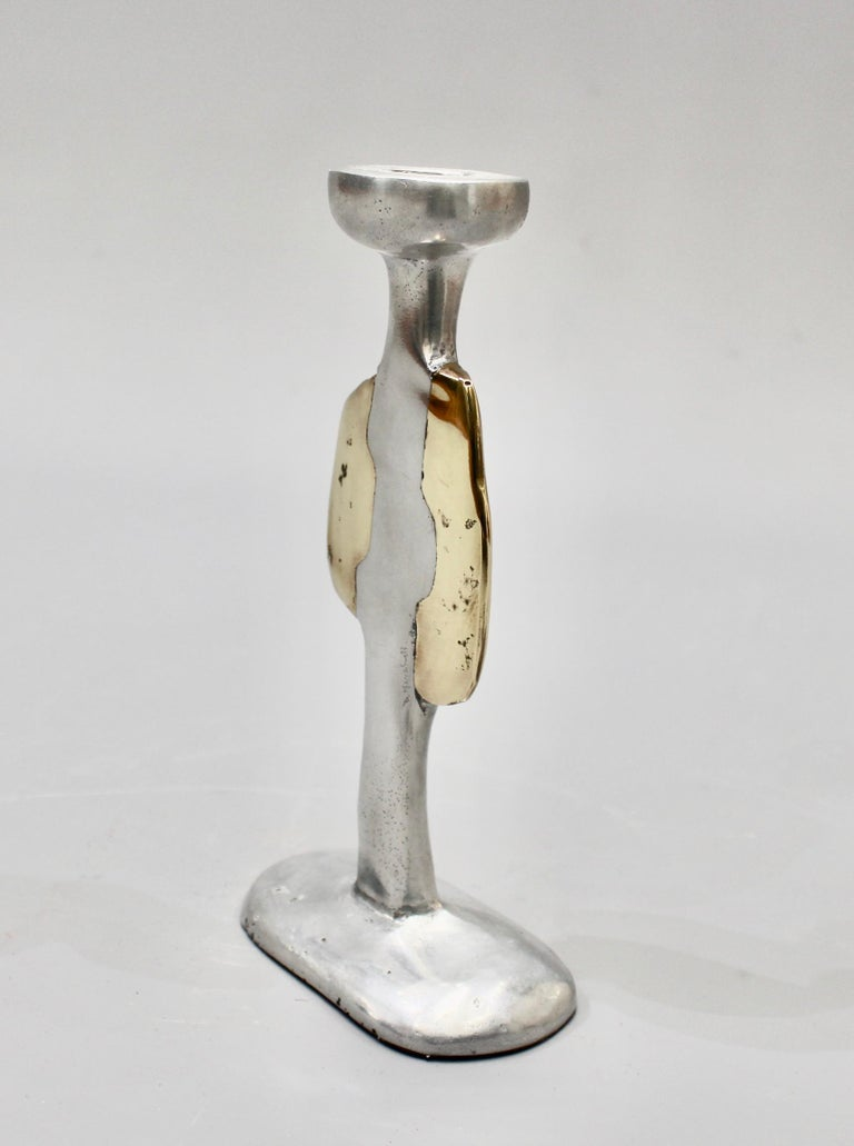 Late 20th Century Aluminium and Brass Candlestick by David Marshall, circa 1970s For Sale