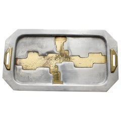 Aluminium and Brass Serving Tray in the Style of David Marshall, circa 1970s