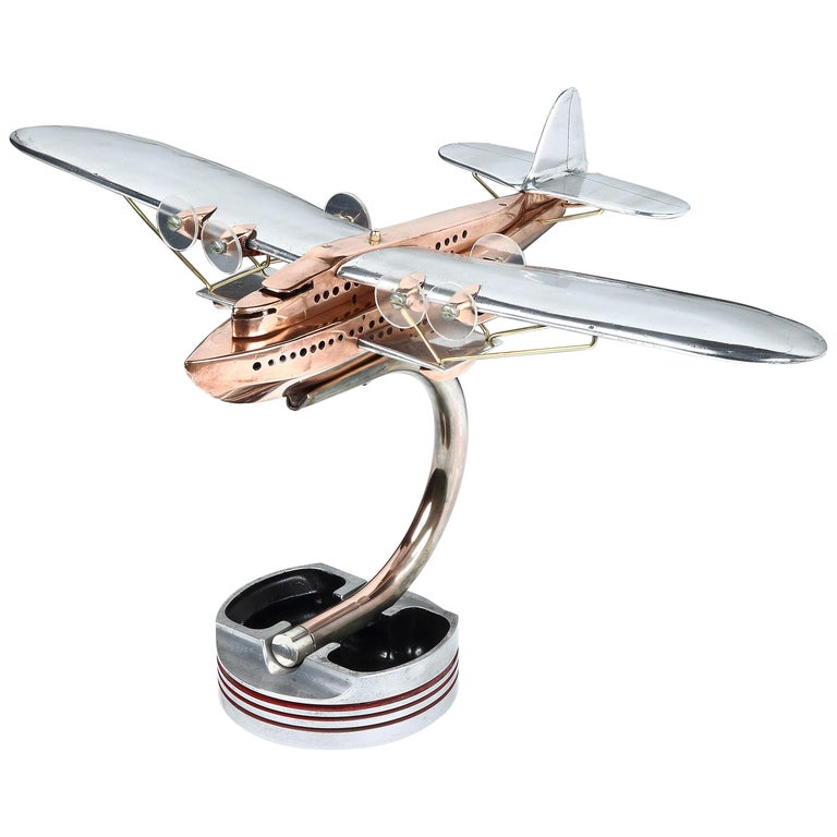 Aluminium and copper artisan desk model of a Latécoère 521 flying boat, 1930s For Sale