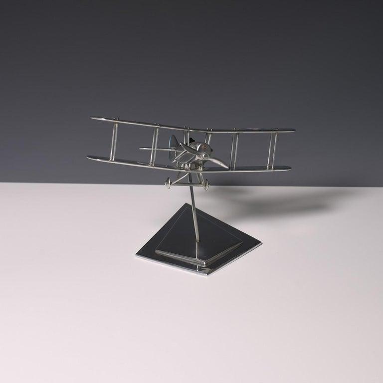 Late 20th Century Aluminium Bi-Plane Model, circa 1980s