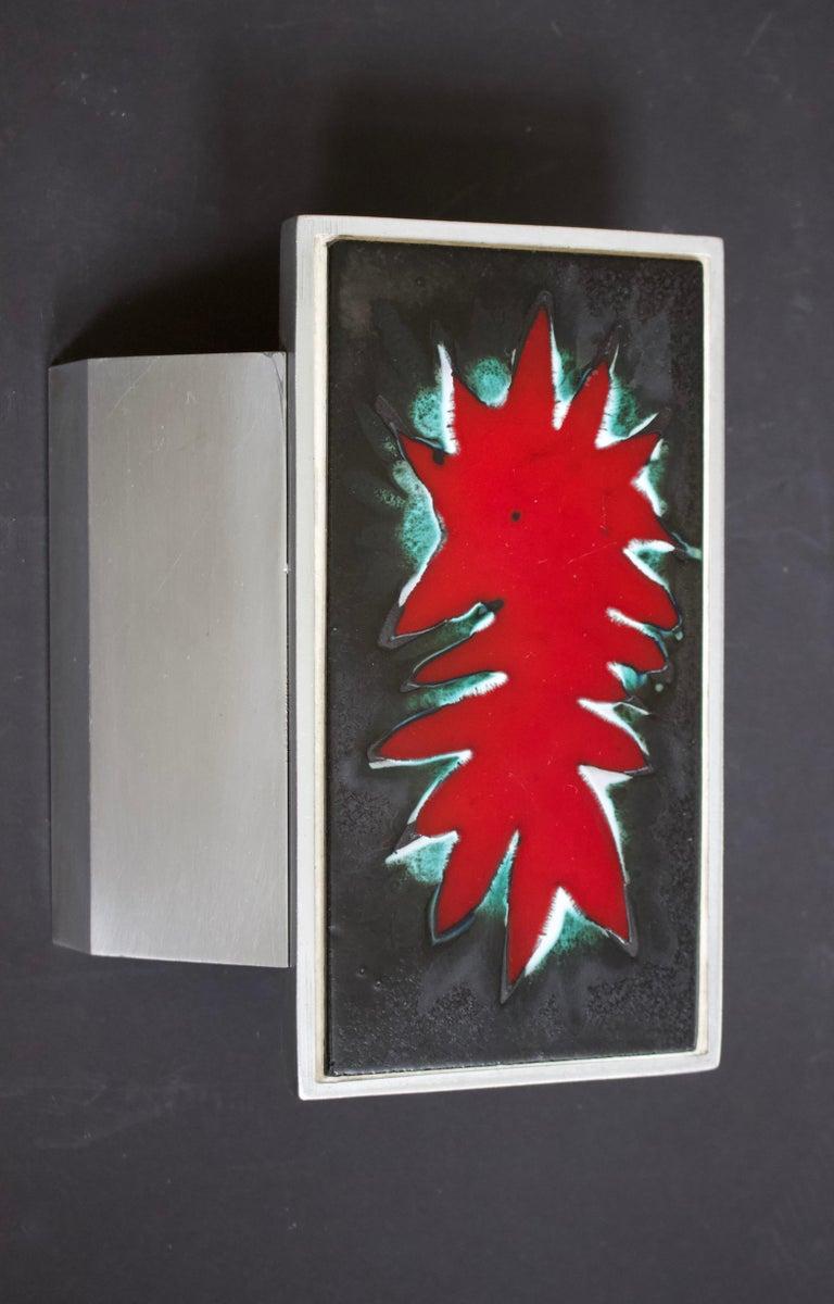 European Mid-Century Modern Aluminium Red Door Handle, Ceramic Panel, Belgium, 1960s For Sale