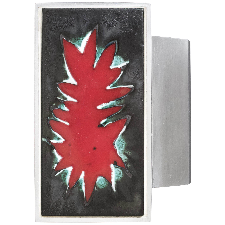Mid-Century Modern Aluminium Red Door Handle, Ceramic Panel, Belgium, 1960s