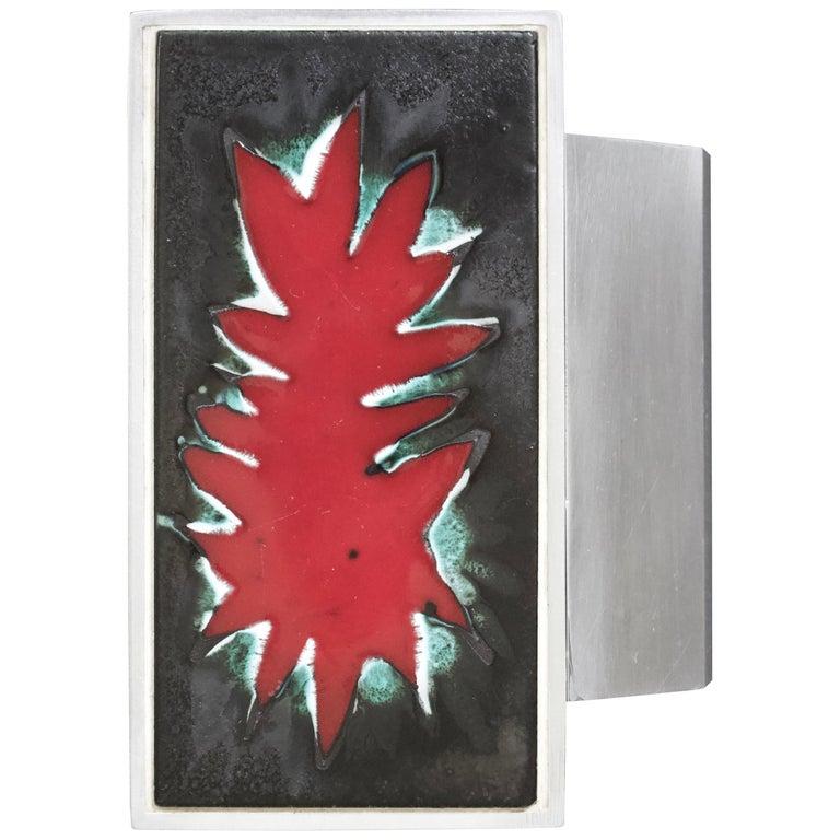 Mid-Century Modern Aluminium Red Door Handle, Ceramic Panel, Belgium, 1960s For Sale