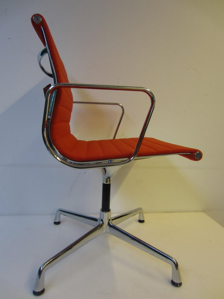 Danish Aluminium Red Chair EA 104 Charles & Ray Eames, Vitra For Sale