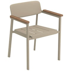 Aluminium and Teak EMU Shine Armchair, Set of 4 Items