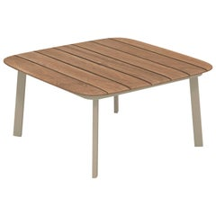 Aluminium and Teak EMU Shine Coffee Table with Teak Top