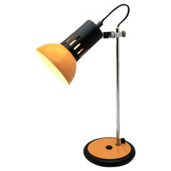 Aluminor Desk Lamp of the 1970s in Yellow Metal and Chrome, France, 1970s