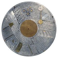 Aluminum and Brass Mosaic Round Coffee Table