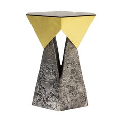 "Aluminum and Brass ""Palladium"" Side Table by Arcana"