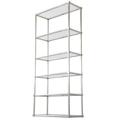 Modernist Aluminum and Brass Frame Etagere Shelf Unit with Glass Shelves