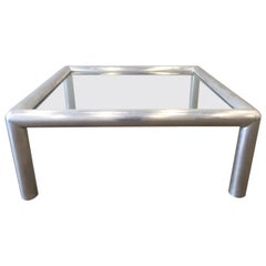 Aluminum and Glass Coffee Table by John Mascheroni