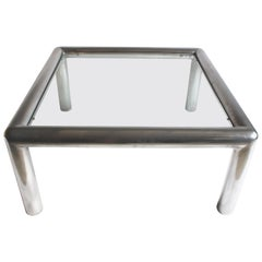 "Aluminum and Glass ""Tubo"" Coffee Table by John Mascheroni"