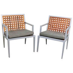 Aluminum and Teak Archetype Patio Chairs by Michael Vanderbyl for McGuire, Pair