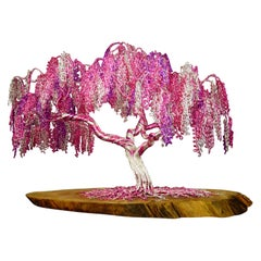 "Feng Shui Bonsai ""Pink curls"", Handmade in Italy, Sculpture, Contemporary"