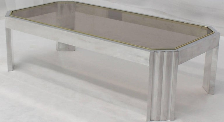 American Aluminum Brass Glass Rectangular Coffee Table For Sale