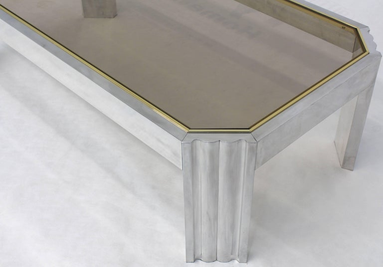 Polished Aluminum Brass Glass Rectangular Coffee Table For Sale