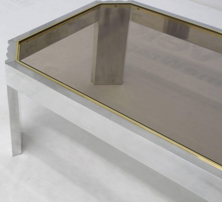 Aluminum Brass Glass Rectangular Coffee Table In Excellent Condition For Sale In Blairstown, NJ