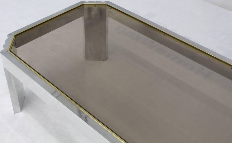 20th Century Aluminum Brass Glass Rectangular Coffee Table For Sale