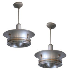 Aluminum Ceiling Pendant with Neoclassical Accents