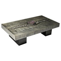 Aluminum Etched Coffee Table with Amethyst Inlay by Marc D'Haenens