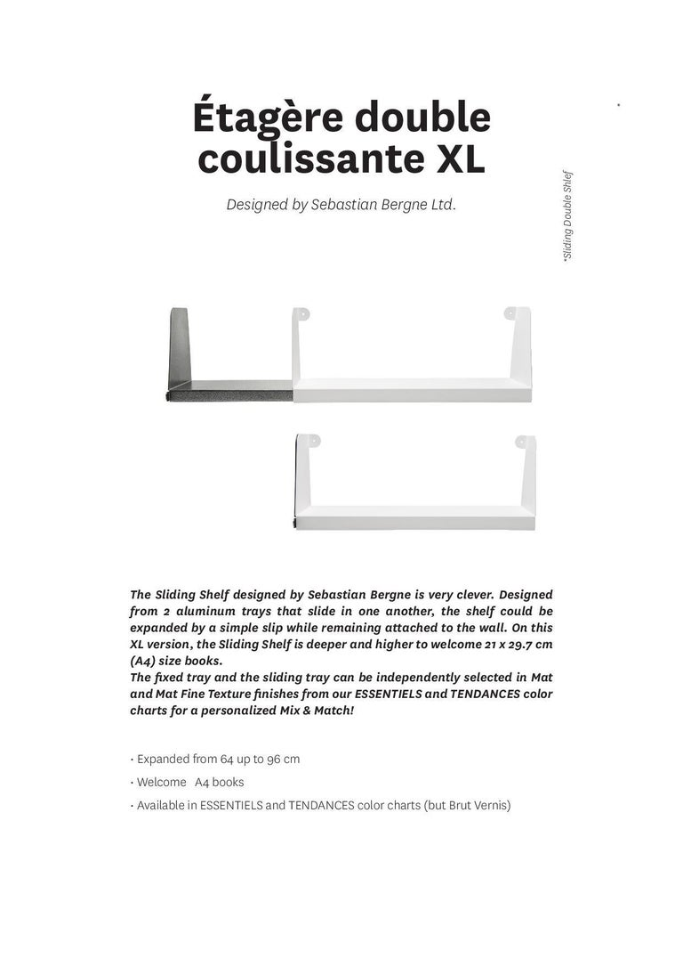 Contemporary Aluminum Extra Large Sliding Double Shelf in by Sebastian Bergne and Tolix For Sale