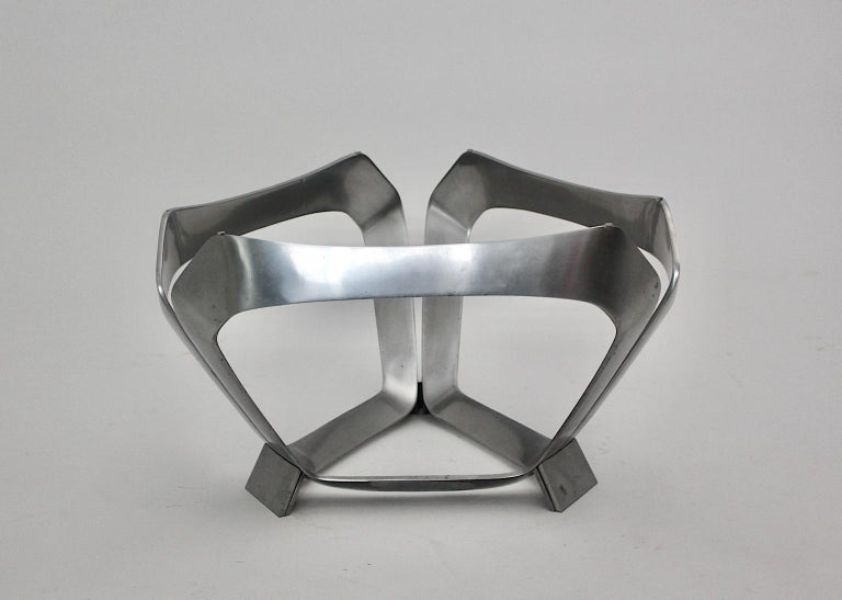 Aluminum Glass Space Age Vintage Coffee Table by Knut Hesterberg 1960s Germany For Sale 7