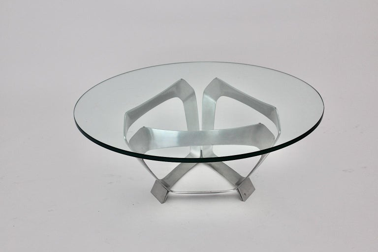 Aluminum Glass Space Age Vintage Coffee Table by Knut Hesterberg 1960s Germany For Sale 8