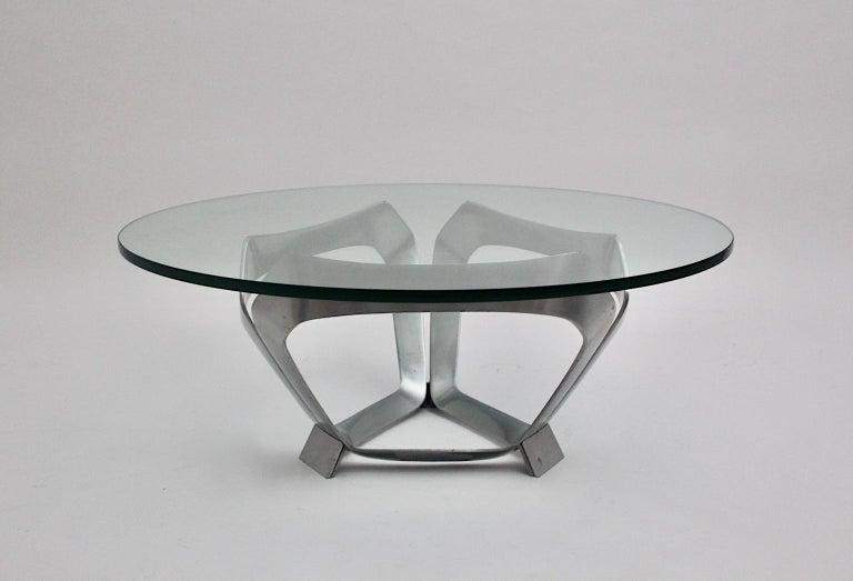 Aluminum Glass Space Age Vintage Coffee Table by Knut Hesterberg 1960s Germany In Good Condition For Sale In Vienna, AT