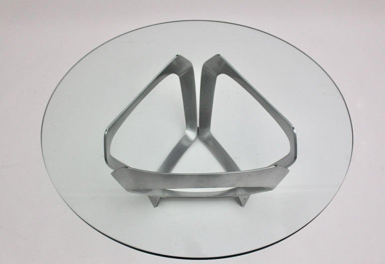 Mid-20th Century Aluminum Glass Space Age Vintage Coffee Table by Knut Hesterberg 1960s Germany For Sale