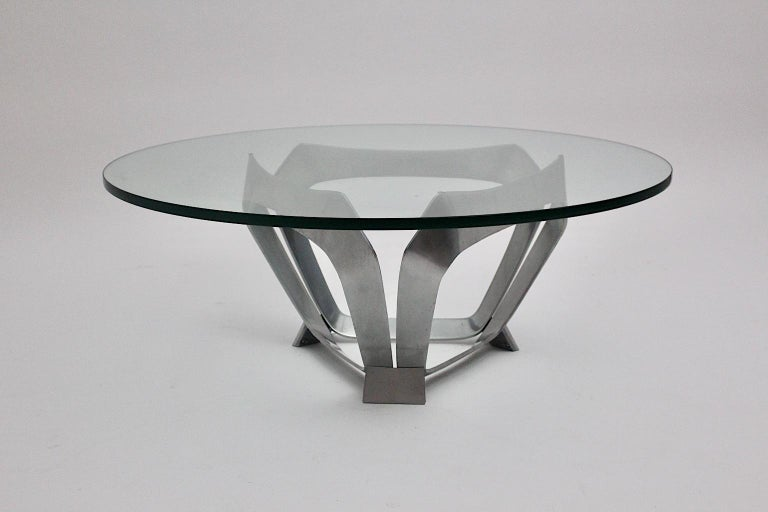 Aluminum Glass Space Age Vintage Coffee Table by Knut Hesterberg 1960s Germany For Sale 1